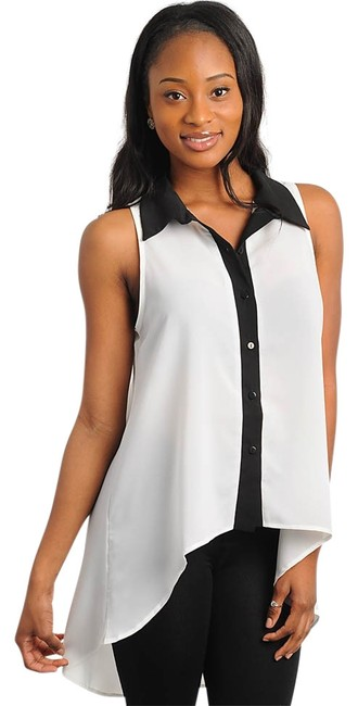 Preload https://item3.tradesy.com/images/white-and-black-sleeveless-button-up-blouse-size-8-m-137032-0-0.jpg?width=400&height=650