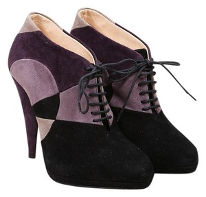 Prada Black Gray Suede Patchwork Black/Gray/Purple Platforms