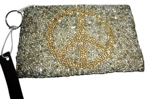bebe Beaded Zipper Coin Purse Wristlet in Silver and Gold