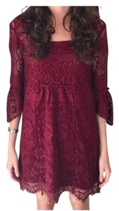 Free People short dress Red Boho Lace on Tradesy