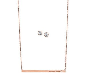 Michael Kors Michael Kors Logo Bar Necklace and Crystal Stud Earring Set