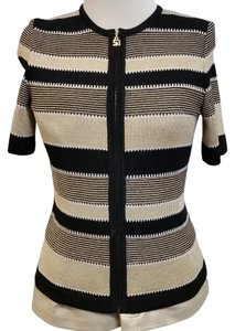 St. John Stripe Striped Cream Brown Cardigan