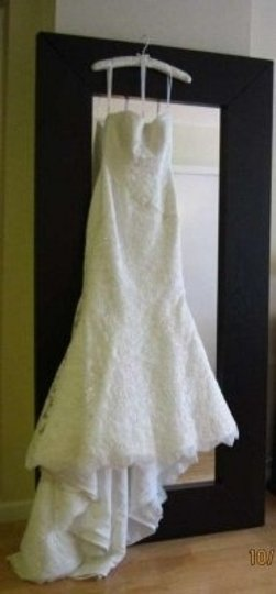 Oleg Cassini Ivory Lace Tulle Sweetheart Beaded Trumpet Gown Style Crl277 Formal Wedding Dress Size Petite 2 (XS)