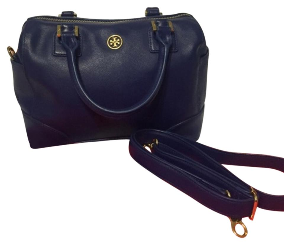 b9ae8f88c972 Tory Burch Robinson Middy Bowler Cobalt Blue Leather Satchel - Tradesy