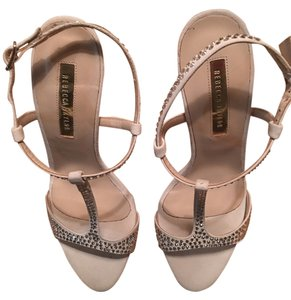 Rebecca Taylor Rhinestud Leather White Sandals
