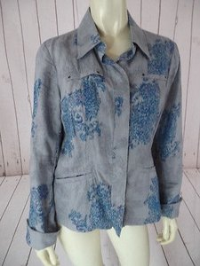 Coldwater Creek Linen Blue, Gray Jacket