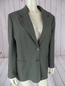 Other Benneton Blazer Coat Green Gray Wool Poly Blend From Italy Lined Classy