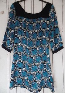Other short dress Black, Teal, Cream, Lavender Puella Anthropologie Silk Floral Shift Square Neck Retro on Tradesy