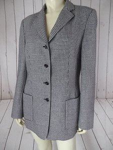 Talbots Talbots Blazer Black White Houndstooth Wool Long Torso Made In Italy Lined Hot
