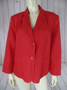 Talbots Womans Petite Blazer 14w Red Irish Linen Button Front 34 Sleeves Chic