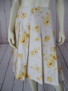 Banana Republic 0 Silk Slub Floral Lined Pleats Chic Skirt Beige Brown Yellow