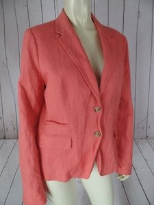 J.Crew J Crew Schoolboy Blazer Dark Peachy Orange Viscose Poly Metal Blend Chic