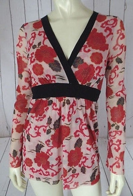 Item - Sweet Pea Top Nylon Pullover Banded Empire Waist Floral Babydoll Boho Hippie