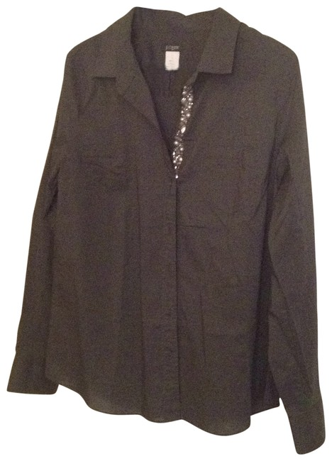 J.Crew Blouse Beaded Button Up Button Down Shirt slate grey