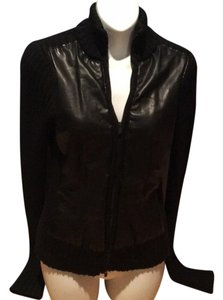 Calvin Klein Leather Sweater Wool Leather Jacket