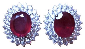 SALE**13.75CT NATURAL RUBY&SAPPHIRE EARRINGS
