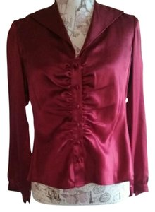 Talbots Silk Button Up Top Red