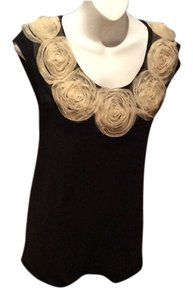 Jean-Paul Gaultier GORGEOUS BLACK BLOUSE WITH CREAM FLOWER WITH CREPE FEEL SKIRT