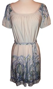 BCBGMAXAZRIA short dress Tan Blue Green Stretch Size Small on Tradesy