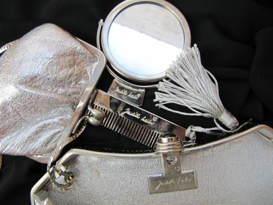 Judith Leiber Vintage Fully Beaded Black White Silver Clutch