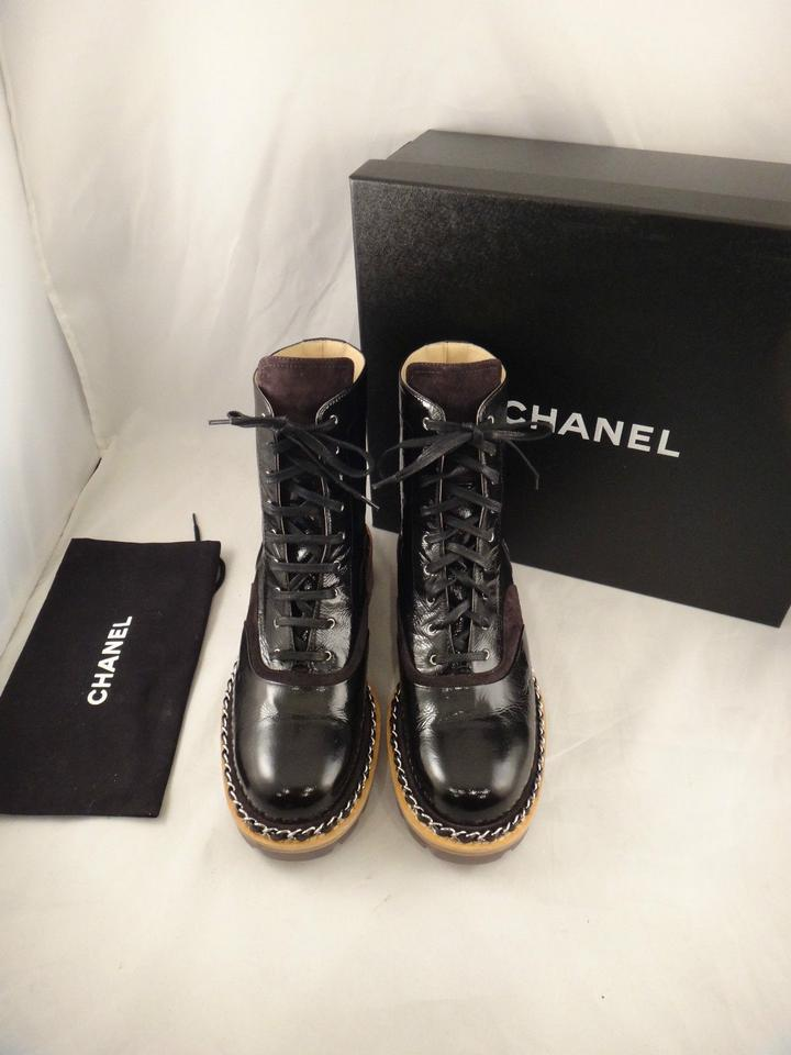f285e820247 Chanel Black 15a Chain Patent Leather Lace Up Biker Combat Boots/Booties  Size US 11.5 Regular (M, B) 36% off retail