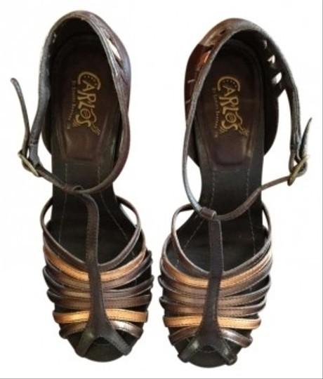 Carlos by Carlos Santana Strappy Metallic Bronze Stiletto Brown Sandals