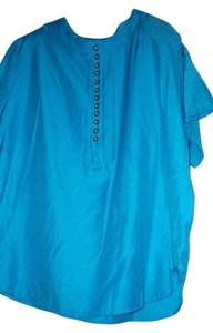Bordeaux Short Sleeve Polyester Casual Top Turquoise