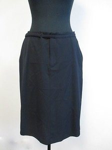 Nine West Pencil Built In Velcro Belt O719 Skirt Navy Blue
