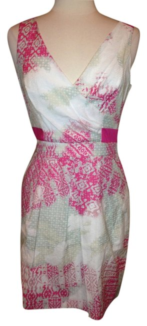 Item - Pink White Gray Above Knee Short Casual Dress Size 4 (S)