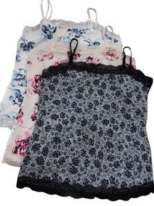 Ann Taylor Top 3 Camis - blue, pink, and black