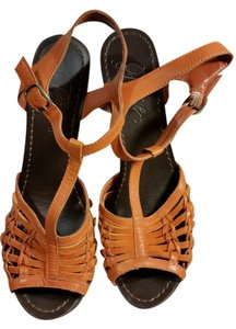 Fergie T-strap Platform Leather Orange Sandals