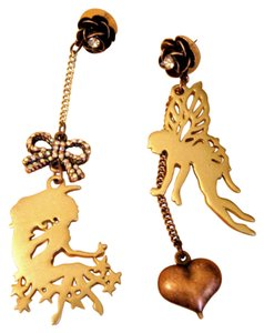 Betsey Johnson Betsey Johnson Fairy, rose, heart Mismatch earrings