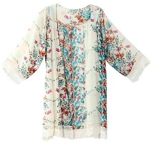 Ivory Floral Chiffon Lace Beach Tunic Cover Up