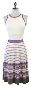 MILLY short dress Cream Purple Sleeveless Knit on Tradesy