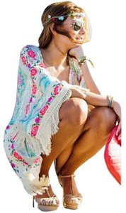 Other Rose Chiffon Floral Lace Beach Boho Coverup