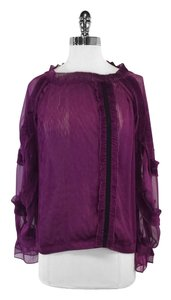McGinn Pleated Plum Semi Sheer Long Sleeve Top