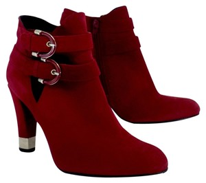 Stuart Weitzman Red Cut Out Strap Ankle Boots
