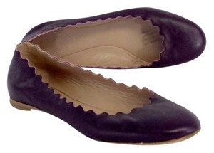 Chlo Purple Scalloped Leather Flats