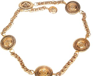 Versace Versace Women's Gold Lionshead Medallion Chain Belt