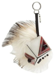 Fendi Flurry Silver fox-fur and Prism Bag Bug Monster Key Chain Bag Charm