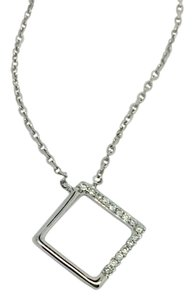 Other 14K White Gold Open Square Diamond Necklace