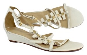 Kate Spade White Gold Studded Leather Sandals