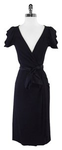 Diane von Furstenberg Black Cap Sleeve Wrap Dress