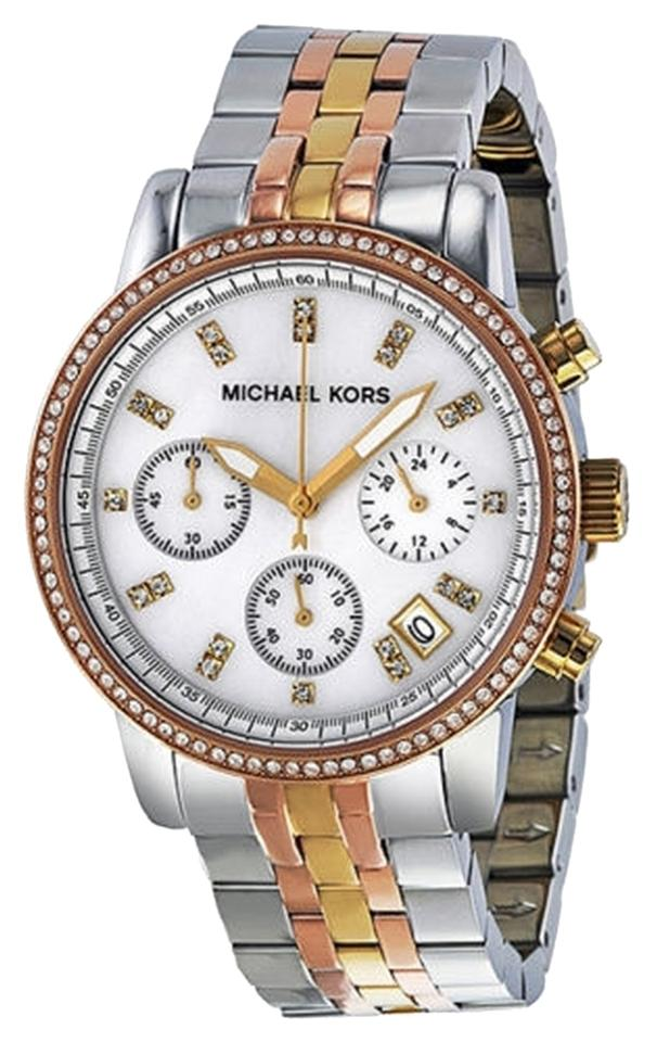 60959f16fff8 Michael Kors Tricolor (Rose Gold-tone Gold-tone and Silver-tone) Ritz Chronograph  Mother Of Pearl Dial Steel Ladies Watch