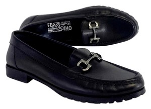 Salvatore Ferragamo Black Leather Loafer Flats