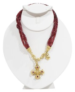 Judith Ripka Judith Ripka Faceted Garnet Multi Strand & 18k Yellow Gold Maltese Cross Haute Couture Necklace.