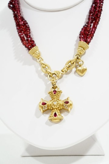 Judith Ripka Judith Ripka Garnet 18k Gold Maltese Cross Necklace