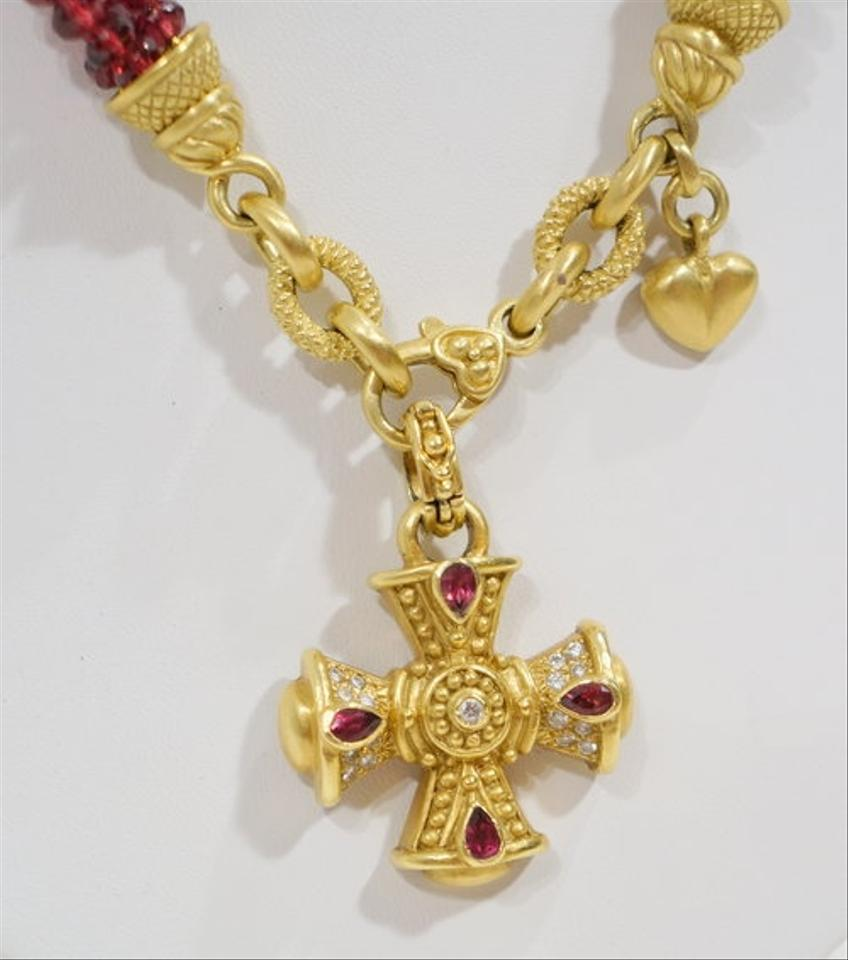 Judith ripka garnet 18k yellow gold maltese cross necklace tradesy mozeypictures Choice Image