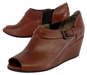 Anyi Lu Rust Leather Ope Toe Shoeties Wedges