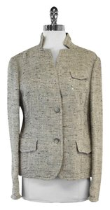 Akris Grey Blue Tweed Blazer Jacket